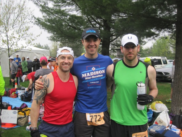 Me, Dan and Otter at the start line of the 2013 Ice Age Trail 50k.