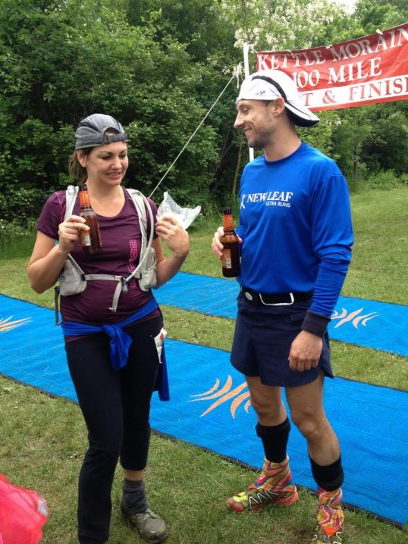Hanging with Jen at the Kettle Moraine 100 finish line. (Image courtesy of Martha Manzo-Walker)