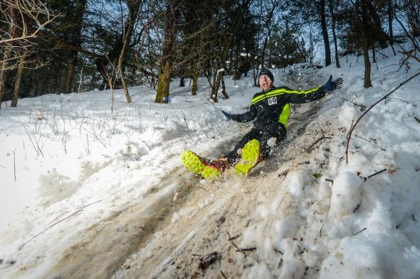 Jeff Lung 2014 Frozen Gnome 50k Butt Slide Hill
