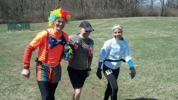 Robin (the clown), Siamak and Edna, approximately 70 miles in.