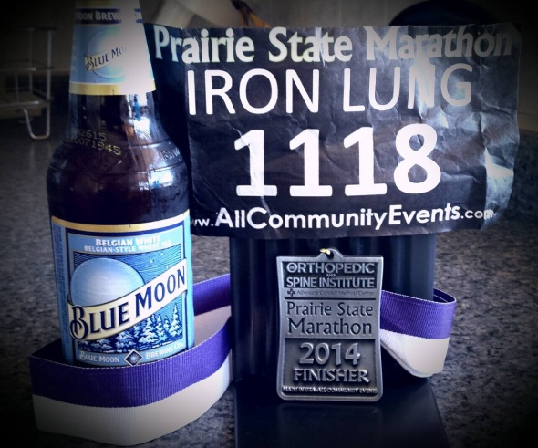 Finishers medal 2014 Prairie State Marathon