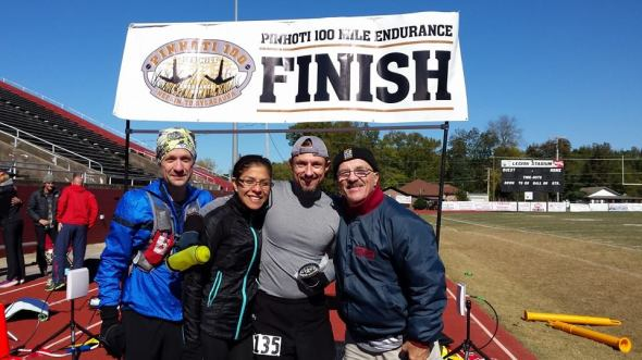 Jeff and Crew Finish Line Pinhoti 100 2014