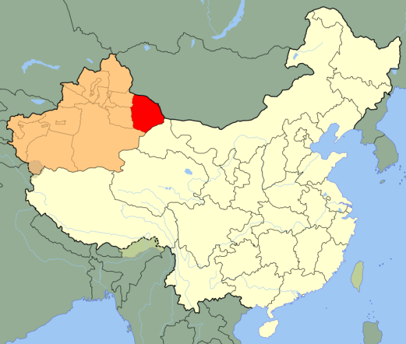 Hami, China (in red), part of the province of Xinjiang (in peach).
