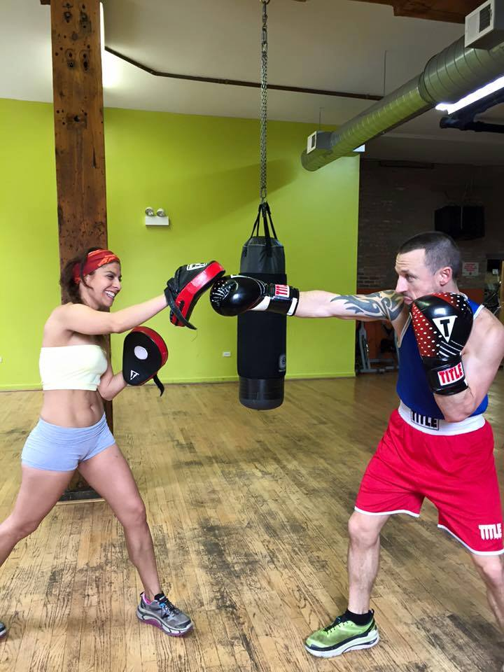 (Working the mitts with the best partner one could ask for)